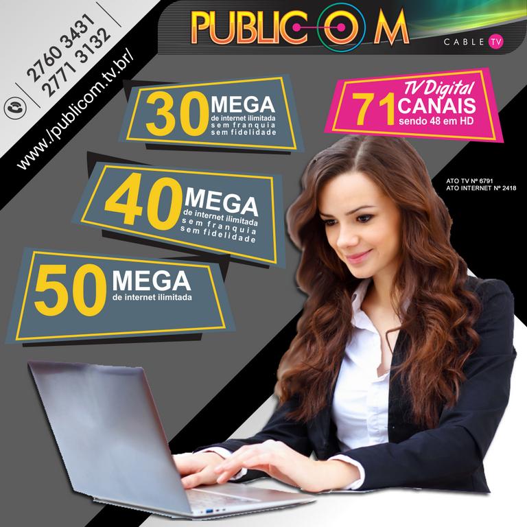 <p>A Publicom tem pacotes ótimos para suprir a sua necessidade no dia a dia e o melhor, nossa empresa fica no centro de Rio das Ostras, pertinho de você! Acesse o nosso site e confira!</p>