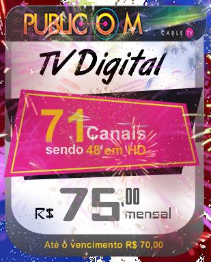 Com a TV a cabo da Publicom em Rio das Ostras, você tem muito mais qualidade e conforto para toda a sua família, com 71 canais digitais sendo 48 em HD. Confira nosso site