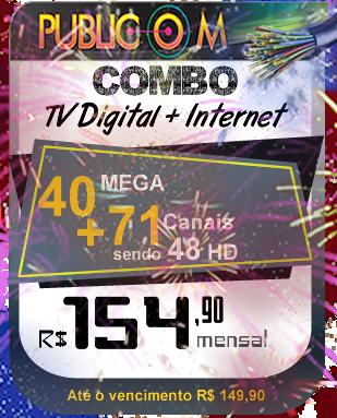 Com o Combo de TV e Internet da Publicom em Rio das Ostras, você tem muito mais qualidade e conforto para toda a sua família, com 71 canais digitais sendo 48 em HD.  e o melhor, mais 40 megas de internet sem franquia e sem fidelidade! Confira nosso site