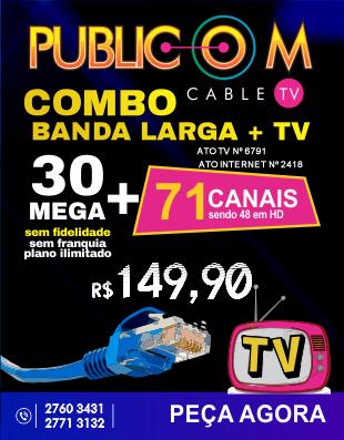 Com o Combo de TV e Internet da Publicom em Rio das Ostras, você tem muito mais qualidade e conforto para toda a sua família, com 71 canais digitais sendo 48 em HD.  E o melhor, mais 30 mega de Internet sem franquia e sem fidelidade! Confira nosso site .