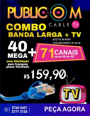 Com o Combo de TV e Internet da Publicom em Rio das Ostras, você tem muito mais qualidade e conforto para toda a sua família, com 71 canais digitais sendo 48 em HD.  E o melhor, mais 40 mega de internet sem franquia e sem fidelidade! Confira nosso site .
